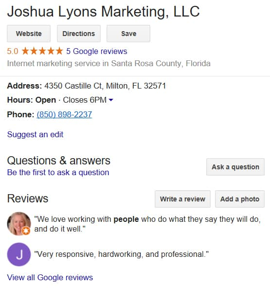 Google Reviews and SEO Company Testimonials